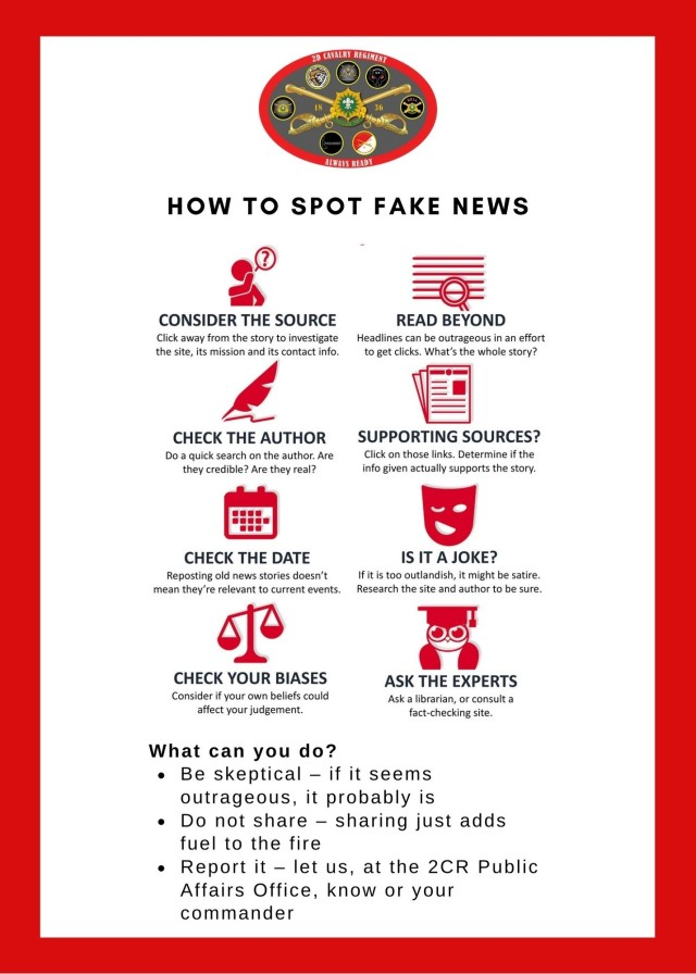 This graphic, created by the 2d Cavalry Regiment public affairs section, provides ways to identify fake news for Soldiers and families in Vilseck, Germany, April 1, 2021. The graphic served as a supplementary tool on the lesson of misinformation and disinformation as part of an April Fool's Day social media post. (U.S. Army infographic designed by Sgt. LaShic Patterson)