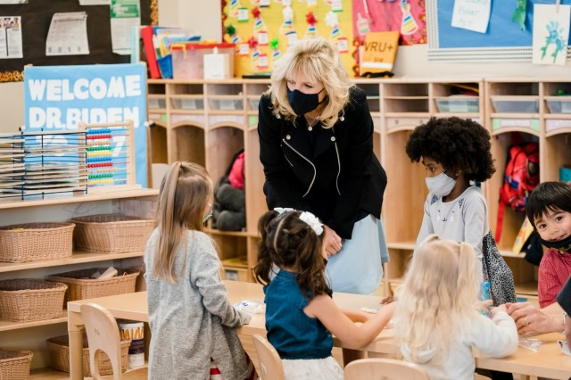 First Lady Jill Biden participates in a tour and greets children Wednesday, March 10, 2021, at the Child Development Center at Marine Corps Air Ground Combat Center in Twentynine Palms, California.