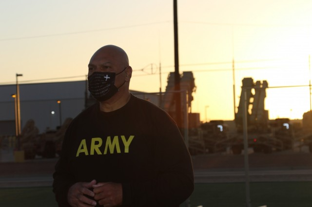 Chaplain (Maj.) Folauga Tupuola, assigned to 69th Air Defense Artillery Brigade,  prepares to conduct the Army Combat Fitness Test during the 32d AAMDC's unit ministry team's training here at Fort Bliss, Texas.