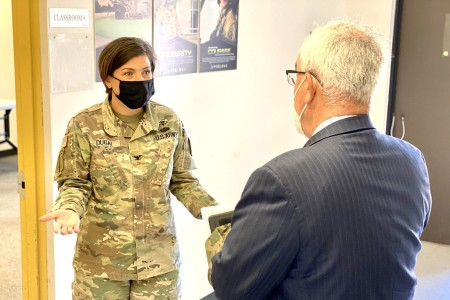 Col. Jody Dugai, Bayne-Jones Army Community Hospital commander, (left) shares her enthusiasm for the training offered at the BJACH Medical Range with J.M. (Jay) Harmon, deputy to the U.S. Army Medical Center of Excellence commanding general. Harmon was at Fort Polk to serve as the keynote speaker for the BJACH Army Medical Department Civilian Corps 25th Anniversary ceremony hosted by the hospital on March 26.