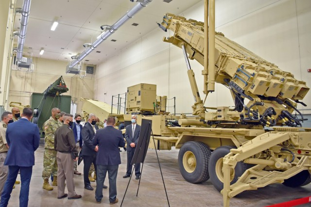 The Program Executive Office Missiles and Space team provides an overview of the Patriot Advanced Capability-3 for Christopher J. Lowman, the senior official performing the duties of Under Secretary of the Army, during his March 23 visit to Redstone Arsenal, Alabama.