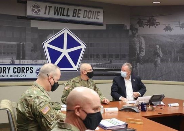Maj. Gen. Robert Burke, V Corps' Deputy Commanding General for Support, provides an update to the U.S. Rep. Doug Lamborn on the Corps' command priorities and its progress in building toward full operational capability during a visit to Fort Knox, Kentucky on April 9, 2021.