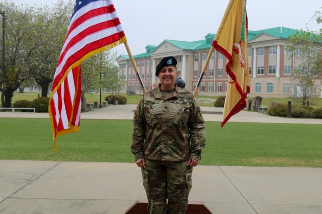 Lt. Col. Erin Frazier, commander of the 5-306th Brigade Support Battalion, 188th Infantry Brigade, First Army Division East, and native of Norfolk, Va., at her change of command ceremony, March 2020, on Fort Stewart.