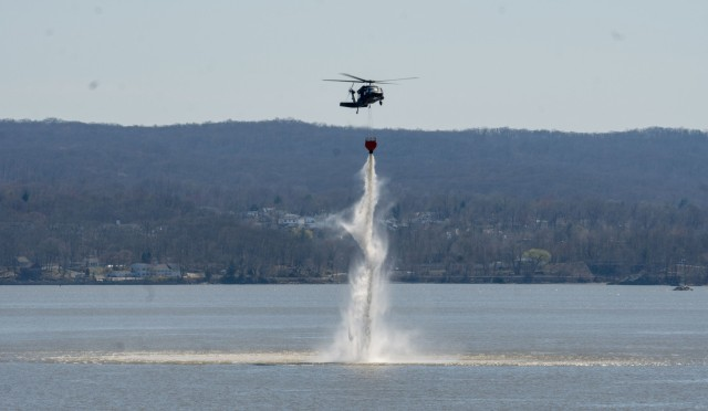 NY National Guard helicopter crews train to fight fires over the Hudson River