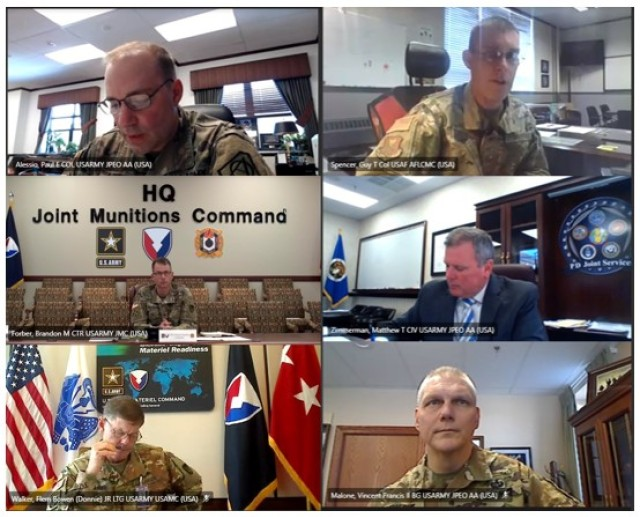 Members of the Joint Ordnance Commanders Group meet virtually to discuss joint initiatives regarding munitions systems.