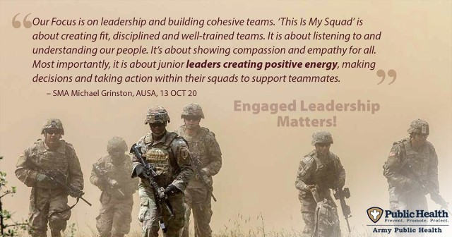 """Studies show that noncommissioned officer's daily and direct engagement with the unit can significantly influence Soldier behavior. """"What Leaders Can Do to Increase Readiness"""" contains eight recommendations targeting the top causes of Soldier medical non-readiness, and is intended to promote and facilitate leadership engagement in these strategies. (Army Public Health Center graphic illustration by Graham Snodgrass)"""