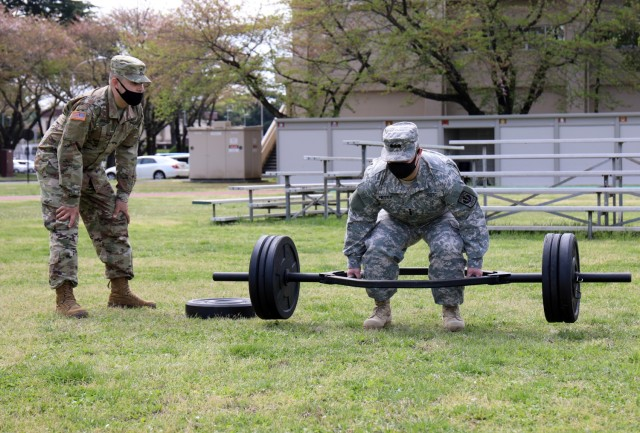 Cadet Capt. Josh Petty completes the three-repetition maximum deadlift portion of the Army Combat Fitness Test during the Zama Middle High School Junior Reserve Officers' Training Corps Cadet Leadership Challenge at Camp Zama, Japan, April 6.
