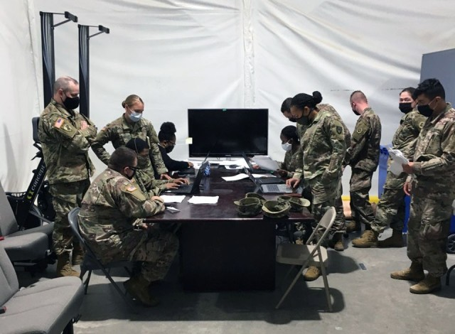Soldiers at Fort Hood, Texas, participate in training for the Theater Enterprise Wide Logisitics System, one of three phases of training provided the U.S. Army Medical Materiel Agency's Business Support Office.