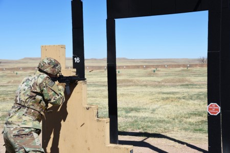 1st Lt. Elliot Austin, deputy team leader, 3rd Space Co., 2nd Space Battalion, fires his M4 carbine downrange during the Army's new weapons qualification table, at Fort Carson, Colorado, April 10, 2021. (U.S. Army photo by Sgt. 1st Class Aaron Rognstad)