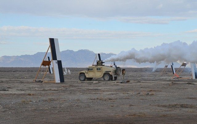 A Screening Obscuration Module (SOM) sits atop a Humvee at the start of a test trial at West Desert Test Center, Dugway Proving Ground. The mounted test trials, including cloud characterization, will continue through April. Photos by Becki Bryant, Public Affairs Office