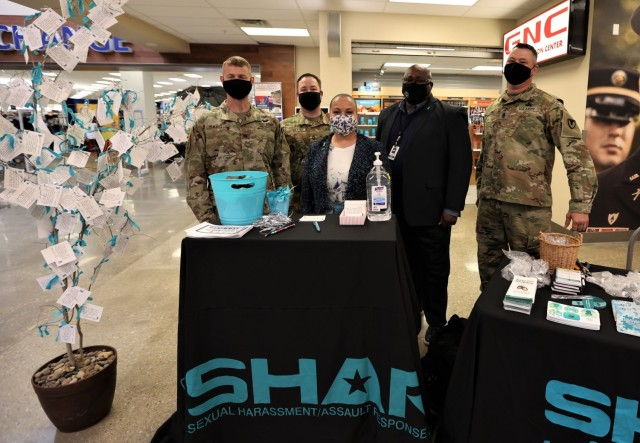 """Sexual assault response coordinator Ella Foley (center) heads up the """"I Pledge"""" campaign on Fort Knox in an effort to raise sexual assault awareness and promote prevention efforts."""