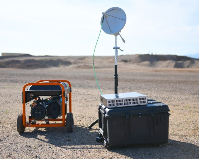 Accurate threat representation from low-cost threat emitters such as this one based at Fort Huachuca, Arizona, is essential for Army research. Army researchers also rely on these emitters to paint a realistic picture as they prepare the DOD for the future operating environment.