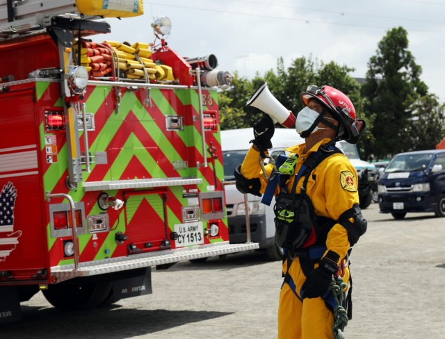 U.S. Army Garrison Japan Fire Department fire personnel participate in the Zama City annual disaster drill in Zama, Japan, Sept. 5, 2020.
