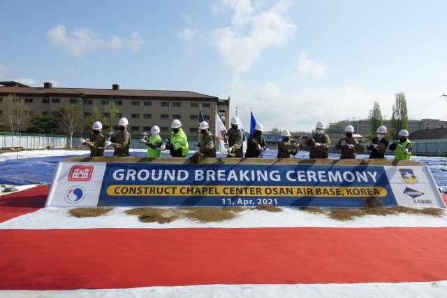 The U.S. Army Corps of Engineers (USACE) Far East District (FED) participated in a ground-breaking ceremony at Osan Air Base, Pyeongtaek, Republic of Korea, Apr. 13. Distinguished guests, from left to right: Maj. Shin Soh (51st Wing Chaplain), Col. David Bowlus (Chaplain, Combined Forces Command/ U.S. Forces Korea), Col. Pyo In Tae (Republic of Korea Design and Construction Agent, Ministry of National Defense U.S. Forces Korea Relocation Office), Col. Garrett Cottrell (U.S. Design and Construction Agent-Transformation, FED), Col. Christopher Crary (commander, FED), Command Master Sgt. Justin Apticar (Command Chief, 51st MSG), Col. John Gonzales (commander, 51st Wing), Col. Jonelle Eychner (commander, 51st Mission Support Group), Col. Michael Staples (Engineer, 7th Air Force), Lt. Col. Ryan Walinski (commander, 51st Civil Engineer Squadron), Mr. Kuk Han Kim (CEO, IlKwang Construction), and Dr. Jum Sik Chae (Chief Project Manager, MURO), broke ground, signifying the beginning of the new construction. (U.S. Army photo by Kyongil Yo)
