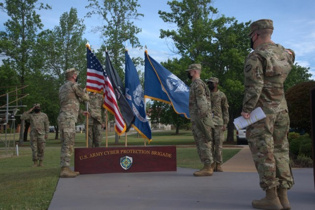 Soldiers of the Raptor Detachment, Army Cyber Protection Brigade participate an activation ceremony for the detachment at Fort Gordon, Ga., April 15, 2021. (Photo by Jeremy Garcia)