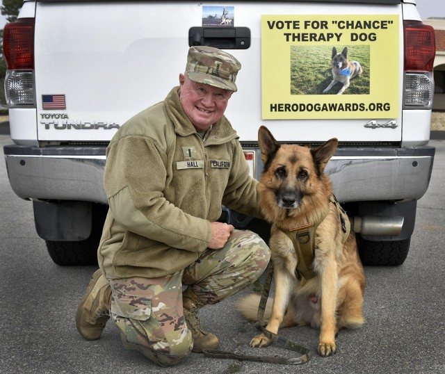 2nd Lt. Chance the K-9 and handler Joe Hall, CW4 with California State Guard