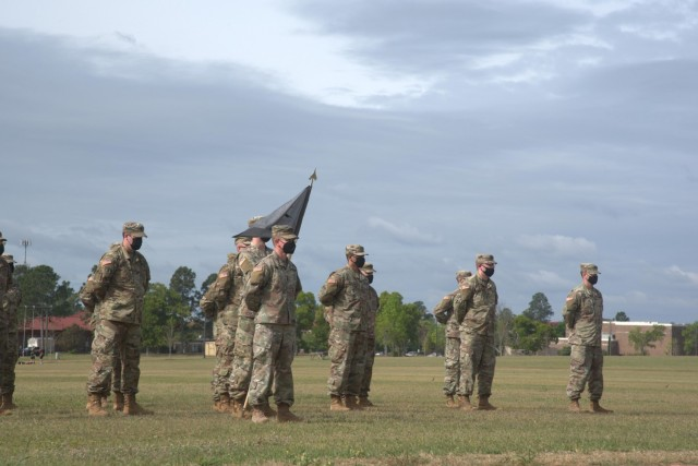 Soldiers of the Raptor Detachment, Army Cyber Protection Brigade stand in formation during an activation ceremony for the detachment at Fort Gordon, Ga., April 15, 2021. (Photo by Jeremy Garcia)