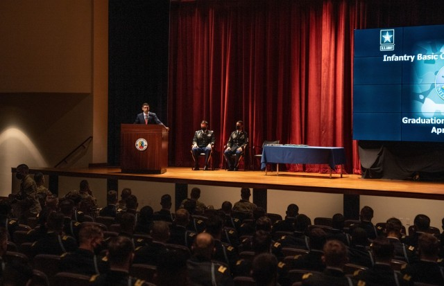 """Medal of Honor recipient retired Capt. Florent """"Flo"""" Groberg, a graduate of the Maneuver Center of Excellence Officer Candidate School and Infantry Officer Basic Course, spoke at the IBOLC graduation of Class 01-21."""