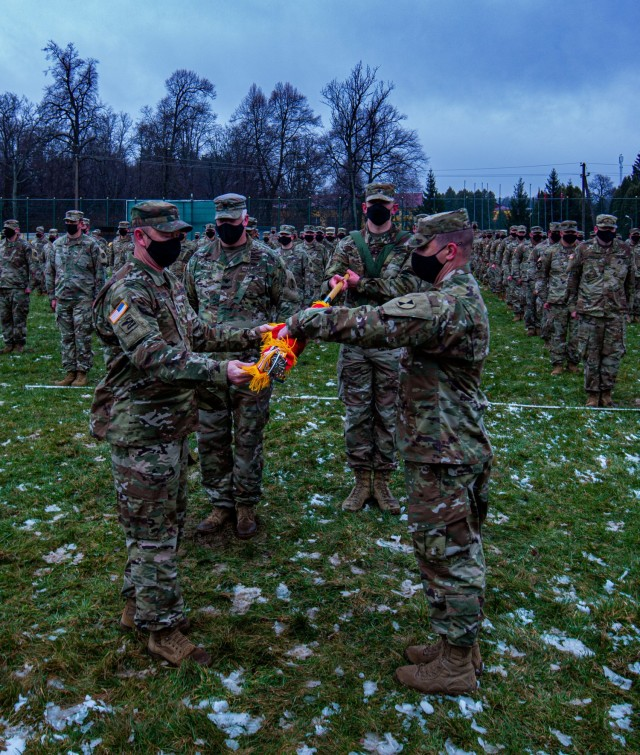 LVIV, Ukraine - Task Force Raven, 81st Stryker Brigade Combat Team, Washington Army National Guard, assumed command of the Joint Multinational Training Group-Ukraine mission at Collective Training Center – Yavoriv, Ukraine, during a Transfer of Authority ceremony April 16, 2021.