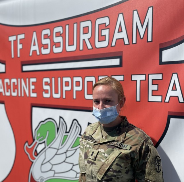 U.S. Army 1st Lt. Kate Hammermaster, a medical surgical nurse assigned to the 626th Brigade Support Battalion, poses for her portrait at the Orlando Community Vaccination Center in Orlando, Florida, March 31, 2021. U.S. Northern Command, through U.S. Army North, remains committed to providing continued, flexible Department of Defense support to the Federal Emergency Management Agency as part of the whole-of-government response to COVID-19. (U.S. Air Force photo by MSgt Lakisha Croley/325th Fighter Wing, Public Affairs)