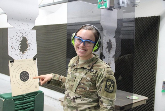 CDT Keegan conducting pistol marksmanship at Demmer Center indoor range