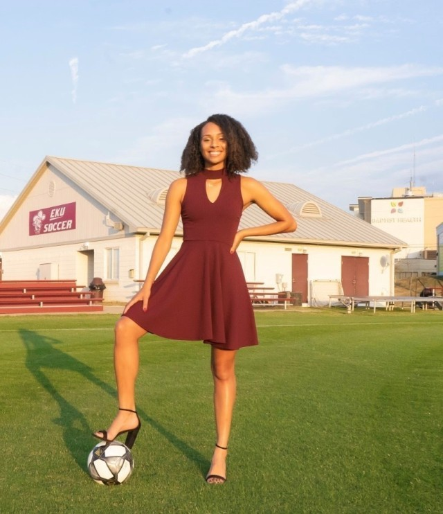 Military child Larissa Heslop, and Eastern Kentucky University graduate, on the soccer field in Richmond, Kentucky in Spring 2020. Heslop is one of the winningest soccer players at EKU. (Courtesy photo)