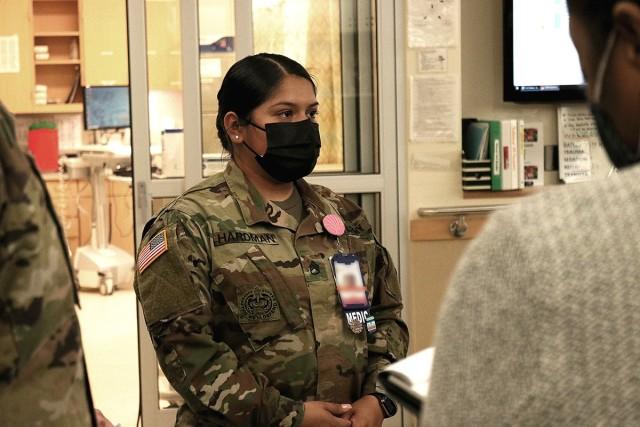 A medic explains the process