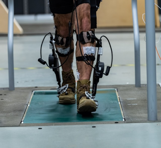 Sensors help Army researchers track and record the state of Soldiers as they interact with exoskeletons such as the ExoBoot.