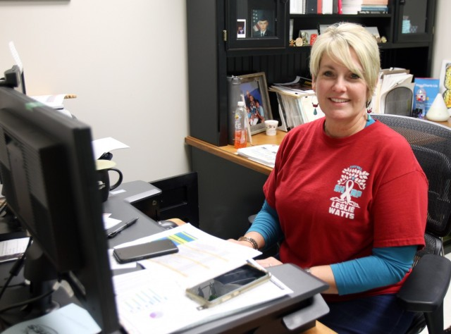Leslie Watts, Sexual Harassment/Assault Response and Prevention program manager for the Fires Center of Excellence, sits at her desk April 16, 2021, at Fort Sill, Oklahoma. She said staying SHARP focused is a year-round effort.