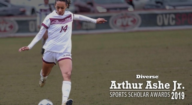Larissa Heslop plays soccer for Eastern Kentucky University in Richmond, Kentucky in 2019. Heslop was named the 2019 Arthur Ashe Jr. Sports Scholar of the Year for women's soccer by the publication Diverse: Issues in Higher Education. (Courtesy Asset)