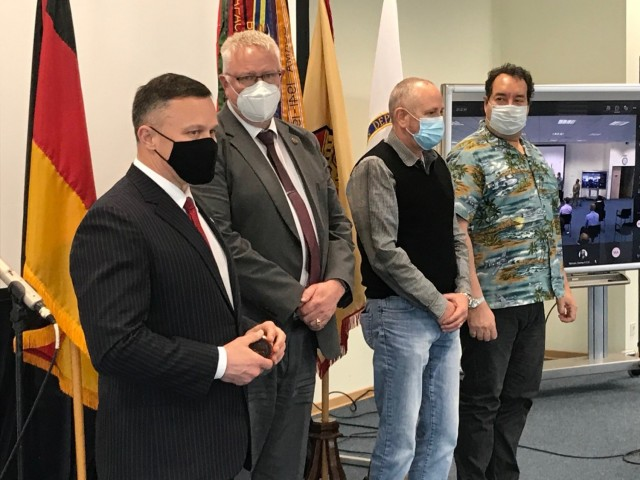IMCOM-Europe Director Tommy Mize recognizes Steve Watts, Keith Horne and Raymond Keledei April 9 for being identified as FY20 Army Antiterrorism Honor Roll Inductees. Across IMCOM-Europe, two garrisons and one individual were recognized in the Army-level awards, as well as eight honor roll inductees.