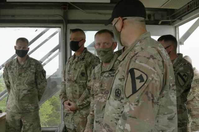 The Command Sergeant Major of US Army Forces Command, Command Sgt. Maj. Todd Sims, visited the Troopers of 4th Squadron, 9th Cavalry Regiment, 2nd Armored Brigade Combat Team, during their Bradley Gunnery Table VI field exercise, at Fort Hood, Texas, March 30, 2021. (U.S. Army Photo by Staff Sgt. Kelsey Miller)