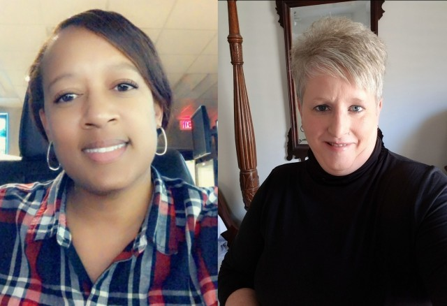 Teronda Taylor and Sandra Edwards, pictured from left to right, both 911 dispatchers at Fort Gordon, Ga., received a call regarding a Soldier who was possibly suicidal Jan. 30, 2021. Working together, they were able to assist officials to the individual and help him receive medical treatment.