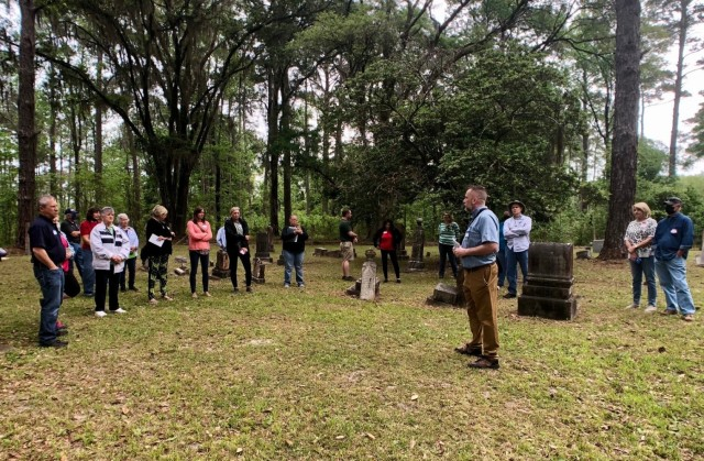 Installation archaeologist and Cultural Resource Program Manager, Brian Greer, gives the history of Clyde Cemetery during the annual Spring Cemetery Tour, April 15 on Fort Stewart.