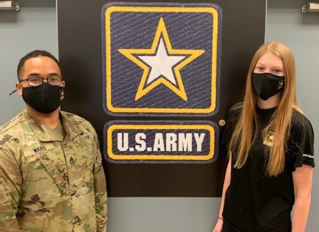 Missouri native Gabrielle Zoellner poses with her recruiter, Staff Sgt. Eugene Ward, at the Cape Girardeau Recruiting Station. Zoellner will train to become an Army intelligence analyst. Recruiters plan to carry out a mass recruiting drive starting May 10 through June 14, 2021, to add future officers and enlisted Soldiers to its pool of talent. During hundreds of virtual hiring fairs, potential recruits nationwide will have the opportunity for one-on-one meetings with recruiters and can learn about signing bonuses of up to $40,000 or student loan reimbursements of up to $65,000.