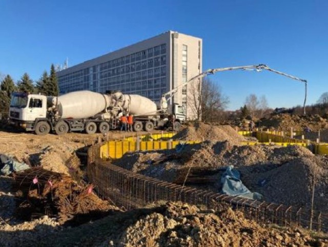 Crews prepare the site for a new helicopter landing zone at the primary hospital in Karlovac, Croatia in March 2021 as part of a project being managed by the U.S. Army Corps of Engineers, Europe District in support of the U.S. European Command and in close coordination with the U.S. Embassy in Croatia. The site is one of three helicopter landing zones being built to improve local emergency medical response capabilities and help save lives. (Courtesy Photo)