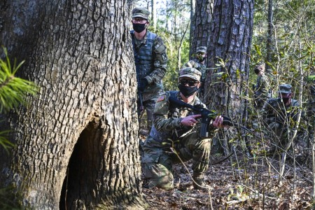 Soldiers conduct a security scan during a simulated downed aircraft exercise at Joint Base Langley-Eustis, Va., March 10, 2021.