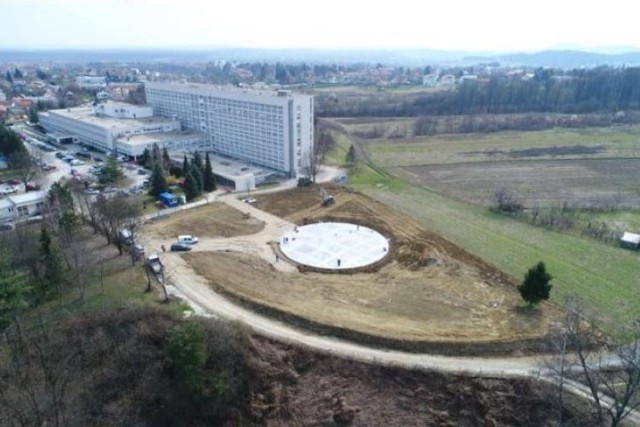 View of work on a new helicopter landing zone at the primary hospital in Karlovac, Croatia in March 2021 as part of a project being managed by the U.S. Army Corps of Engineers, Europe District in support of the U.S. European Command and in close coordination with the U.S. Embassy in Croatia. The site is one of three helicopter landing zones being built to improve local emergency medical response capabilities and help save lives. (Courtesy Photo)
