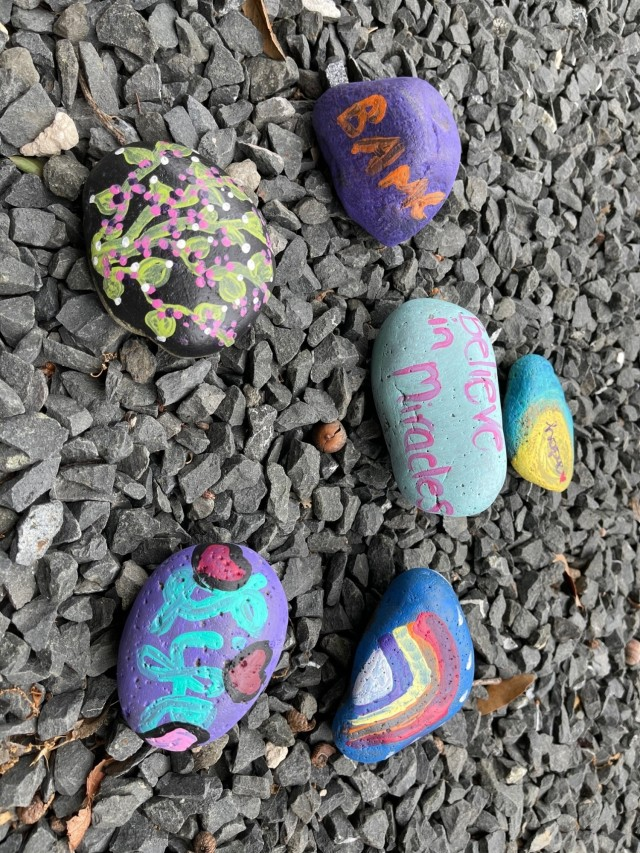 A few of the painted rocks from a rock garden made by Brooke Army Medical Center staff members to inspire hope for those in need of an organ transplant, donors and healthcare Fort Sam Houston, Texas April 27, 2021 . April is National Donate Life Month promoting the importance of registering as an organ, eye and tissue donor. (U.S. Army Photo by Elaine Sanchez)