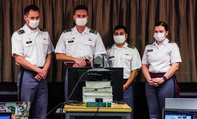 (From left to right) Class of 2021 Cadets Tyler Kim, Jarret Justice, Jesus Carrillo and Courtney Loomis worked together as members of Team Defenders on project B, which focused on designing enhanced, state of the art, underbody armor plates for armored fighting vehicles. With the objective of discovering breakthroughs in engineering to give way to innovation in the military, the Warfighter Innovation and Science and Engineering (WISE) Challenge is the competing grounds in which the U.S. Naval, Coast Guard, U.S. Military and Air Force Academies showcased projects they developed within the realm of Science, Technology, Engineering and Math (STEM) throughout the academic year.