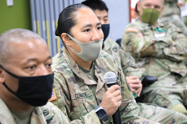 Lt. Col. Rosanna Clemente, 1st Battalion, 1st Air Defense Artillery Regiment commander, shares remarks and observations with commanders and staff during the Rehearsal of Concept Drill at the Mission Training Complex, Sagami General Depot, Japan April 23, 2021. The ROC Drill served as a visual learning aide that allowed leaders to sit side by side as they communicated their concepts of operation, describing the sequence of events in detailed phases.