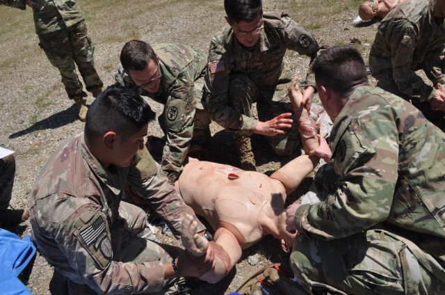 Doctors from Martin Army Community Hospital's Family Medicine Residency Program take part in a mass casualty exercise at the Medical Simulation Training Center as part of their 3-day operational medicine course, Family Medicine Residency Experience.