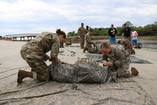 Soldiers assigned to 9th Engineer Battalion, 2nd Armored Brigade Combat Team, 3rd Infantry Division, train for the 14th Annual Lt. Gen. Robert B. Flowers Best Sapper Competition at Jekyll Island, Ga., April 20, 2021. 9BEB will have the first all-female Sapper Team to participate in the competition. (U.S. Army photo by Sgt. Trenton Lowery/released)