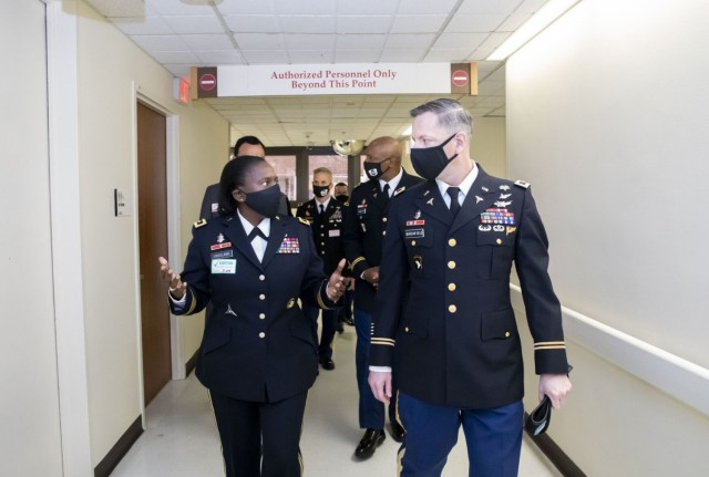 Major General Telita Crosland, Deputy Army Surgeon General, the Deputy Commanding General of Operations for the U.S. Army Medical Command and the Chief of the Army Medical Corps, recently tours Vanderbilt University Medical Center with Col. Patrick Birchfield, commander, Blanchfield Army Community Hospital; Col. Kevin Hamilton, commander, 531st Hospital Center, 44th Medical Brigade; and Col. Michael Wissemann, chief nurse. Vanderbilt University Medical Center, or VUMC, is now an official site for U.S. Army Military-Civilian Trauma Team Training, or AMCT3, a move that will help Fort Campbell's medical personnel achieve the highest standards of care before deployment.