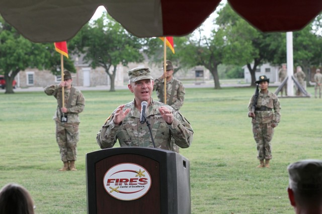 Brig. Gen. Frank Rice departs Fort Sill, Oklahoma, after serving three years here as the deputy commanding general for Army National Guard Air Defense Artillery.