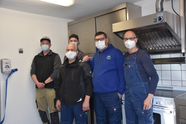 The DPW crew who renovated the barrack kitchen are from left to right, Pascal Krug, Thorben Luft, Jan Moertzsch, Raymond Schaaf and Oliver Vogt.