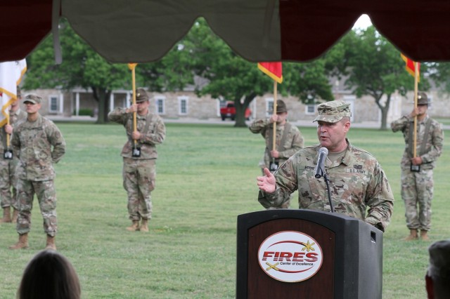 Brig. Gen. Thomas Moore was introduced April 28, 2021, as the new deputy commanding general for Army National Guard Air Defense Artillery, during a retreat ceremony at Fort Sill, Oklahoma.