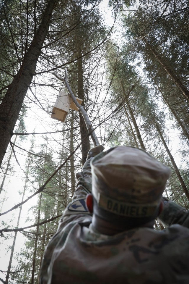 Spc. Dominic Daniels, a supply specialist assigned 2nd Battalion, 8th Cavalry Regiment, stretches with a wooden pole to hang a bird house in a tree outside the Lithuanian city of Kaunas on March 13, 2021. Daniels, along with fellow Troopers, volunteered their time to hang the houses with military cadets from the General Povilas Plechavicius cadet lyceum. (U.S. Army photo by Sgt. Alexandra Shea)