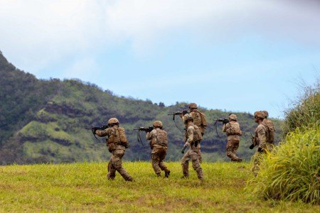 Soldiers assigned to A Company, 29th Brigade Engineer Battalion, 3rd Infantry Brigade Combat Team, 25th Infantry Division conduct squad live fire exercise training lanes at Schofield Barracks, Hawaii on March 30, 2021.