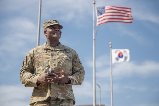 Command Sgt. Maj. AnDante' Williams received the Silver Spike award for his 18 months of leadership at 25th Transportation Battalion.  Photo by PFC Kim, Jae Hyeong
